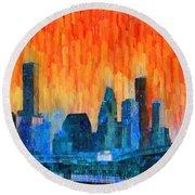 Houston Skyline 81 - Pa Round Beach Towel