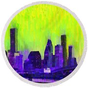 Houston Skyline 84 - Pa Round Beach Towel