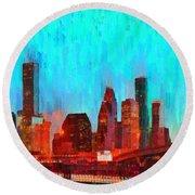 Houston Skyline 87 - Pa Round Beach Towel