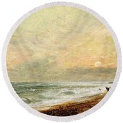Hove Beach Round Beach Towel by John Constable