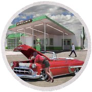 Over Heating At The Sinclair Station Round Beach Towel