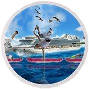 Hoverboarding Across The Atlantic Ocean Round Beach Towel