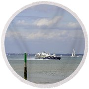 Hovercraft Passing Ryde Harbour Mouth Round Beach Towel