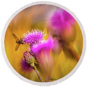 Hoverfly Thistle #g7 Round Beach Towel