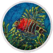 Hovering - Red Banded Wrasse Round Beach Towel