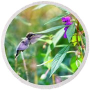 Hovering Hummingbird Round Beach Towel