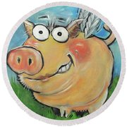 Hovering Pig Round Beach Towel