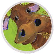 How Now Brown Cow Round Beach Towel