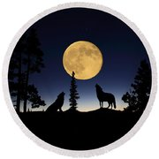 Howling At The Moon Round Beach Towel by Shane Bechler