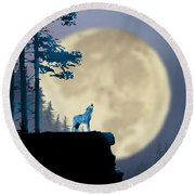 Howling Coyote Round Beach Towel