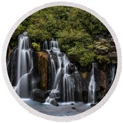 Hraunfossar In The Gloom Round Beach Towel