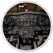 Hu-16b Albatross Cockpit Round Beach Towel