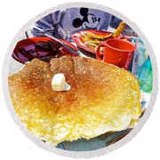 Hub Cap Pancakes At Loulou's On The Commercial Pier In Monterey-california  Round Beach Towel