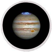 Hubble Captures Vivid Auroras In Jupiter's Atmosphere Round Beach Towel