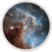 Hubble's 24th Birthday Snap Of Monkey Head Nebula Round Beach Towel