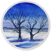 Huddled On A Snowy Field.  Round Beach Towel