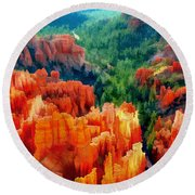 Hues Of The Hoodoos In Bryce Canyon National Park Round Beach Towel