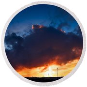 Huge Dusk Cloud Round Beach Towel