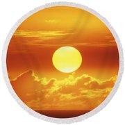 Huge Orange Sun Round Beach Towel