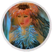 Hula In Turquoise Round Beach Towel