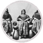 Hula Dancers, C1875 Round Beach Towel