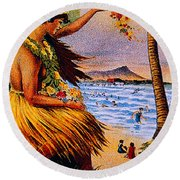 Hula Flower Girl 1915 Round Beach Towel