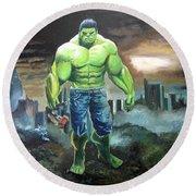 Hulk. Original Acrylic Round Beach Towel