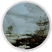 Hull Whalers In The Arctic  Round Beach Towel by Thomas A Binks