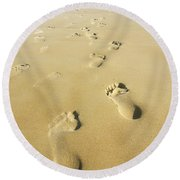 Human Footsteps In The Sand Round Beach Towel