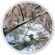 Humber River Winter 3 Round Beach Towel