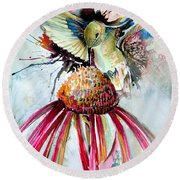 Humming Bird Round Beach Towel by Mindy Newman