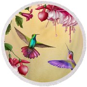 Humming Birds And Fuchsia-jp2784 Round Beach Towel