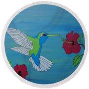 Hummingbird And Flowers Round Beach Towel