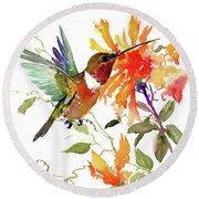 Hummingbird And Orange Flowers Round Beach Towel