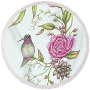 Hummingbird And Rose Round Beach Towel