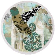 Hummingbird Batik Round Beach Towel
