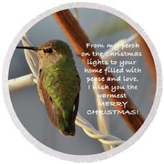 Hummingbird Christmas Card Round Beach Towel