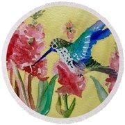 Hummingbird II Round Beach Towel