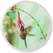 Hummingbird In Flight Sucking On A Juicy Pink Flower Round Beach Towel