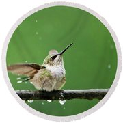 Hummingbird In The Rain Round Beach Towel