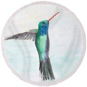 Hummingbird Painting Round Beach Towel