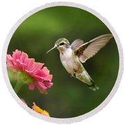 Hummingbird Sunrise Round Beach Towel