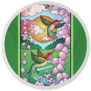 Hummingbird Sunrise Round Beach Towel