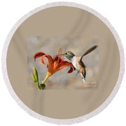 Hummingbird Whisper  Round Beach Towel
