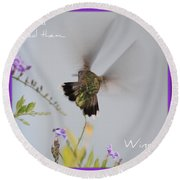 Hummingbird Wings Round Beach Towel