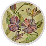 Hummingbirds And Hibiscus Round Beach Towel