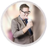 Humorous Businessman Licking Top Of Coffee Cup Round Beach Towel