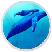 Humpback Mother Whale And Calf  #11 Round Beach Towel