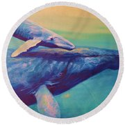 Humpback Whale And Calf Round Beach Towel