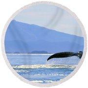 Humpback Whale Flukes Round Beach Towel